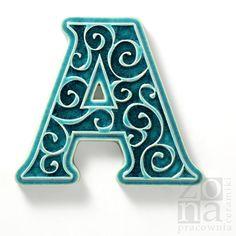 litera A dodatek do numeru na dom, turkusowa / pracowniazona / Dekoracja Wnętrz / Ceramika