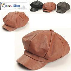 8 Panel Gatsby Hat Brown Light Wash Leather Design Newsboy Flat Cap Baker Boy | eBay