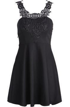 Black Lace Spaghetti Strap Ruffle Slim Dress US$24.80. Would love this in white or royal blue.