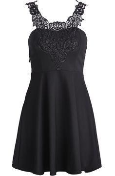 Black Lace Spaghetti Strap Ruffle Slim Dress