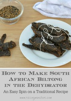 How to make biltong in the dehydrator. A tasty, tangy, dried meat snack. How to make biltong in the dehydrator. A tasty, tangy, dried meat snack. This method has been a very quick and easy way for us to make and enjoy biltong. Jerky Recipes, Venison Recipes, Meat Recipes, South African Recipes, South African Food, Africa Recipes, Cuisines Diy, Dehydrator Recipes, Biltong Recipe Dehydrator