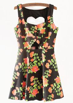 Black Sleeveless Heart Backless Floral Dress pictures
