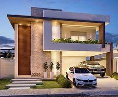 Arquitetura linda do dia ? Duplex House Design, House Front Design, Small House Design, Dream Home Design, Home Design Plans, Modern House Design, Minimalist House Design, House Elevation, Front Elevation