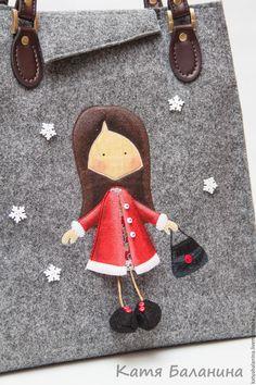 Kézzel készített kézitáskák.  Édes női téli zacskó érezte Lány piros.  Katya Balanina (Táskák, hátizsákok).  Mesterek tisztelete.