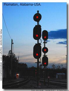 Railroad signal lights at dusk