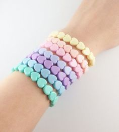 Items similar to Fairy Kei Style Pastel Heart Stretchy Bracelets 7 Pretty Colors to Choose From on Etsy Kawaii Jewelry, Kawaii Accessories, Pastel Goth Fashion, Kawaii Fashion, Kids Jewelry, Cute Jewelry, Heart Jewelry, Heart Bracelet, Pastell Party
