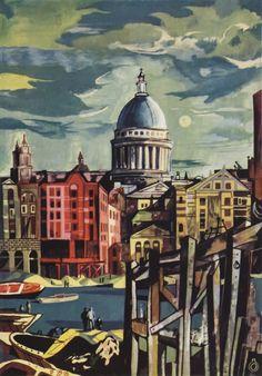 London By John Minton John Minton, Isle Of Dogs, John Piper, Male Figure, London Art, Abstract Expressionism, Landscape Art, Painting & Drawing, Illustrators