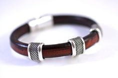 Leather Bangle Leather Bracelet Silver Bead Unisex by amyfine, $50.00