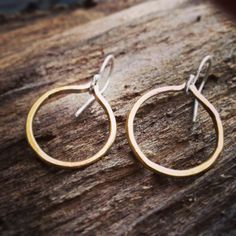 Minimal Tiny Brass and Sterling Silver Hoop by GramercyEight