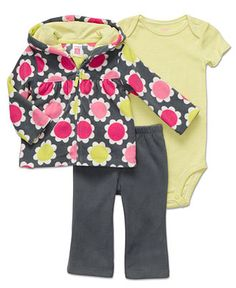 Carter's Baby Set, Baby Girls Microfleece Flower 3-Piece Set - - Macy's