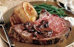 Standing Rib Roast with Porcini and Bacon Sauce, Green Onion-Parmesan ...