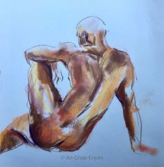 Day 232 - Life drawing in pastel Here is the only drawing in chalk pastel that I did yesterday at a life drawing session, that I was satisfied with. The rest were all a bit off - still I haven't done this for 20+ years, so I just need to practice more! Sat-19-Nov-2016 #Art #Drawing #Pastel #Sketch #LifeDrawing  https://artchapenjoin.wordpress.com/2016/11/20/day-232-life-drawing-in-pastel/