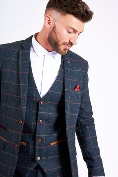 The perfect vintage inspired tweed suit, this check style is a popular choice for Grooms to be. Save off 5 suits or more with our wedding offer. Blue Tweed Wedding Suits, Tweed Suits, Mens Suits, Mens Check Suits, Blue Suit Men, Navy Blue Suit, Blue Suits, Blue Three Piece Suit, 3 Piece Suits