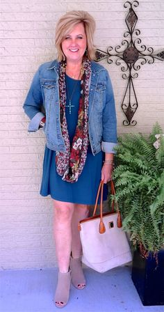 50 IS NOT OLD   SWINGING WITH A DENIM JACKET   Swing Dress   Scarf   Denim   Transition Outfit   Fashion over 40 for the everyday woman