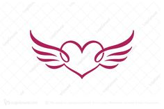 Logo for sale: Heart Wings Logo. Unique calligraphy style winged heart logo. The symbol itself will looks nice as social media avatar and website or mobile icon. wing love wedding planner photography logo logos non-profit hope helping buy purchase sell on sale sold product business brand design graphic unique recognized professional software apps app applications application charity lighthearted organization religious christian christ church ministry