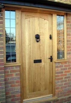 oak swept head door with windows Cottage Front Doors, Victorian Front Doors, Oak Front Door, House Front Porch, Porch Doors, Cottage Door, Front Porch Design, Wooden Front Doors, Cottage Exterior
