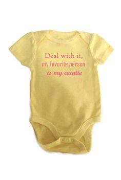 to my niece sophie yellow onesie #yellowonesie #dealwithitmyfavoritepersonismyauntie