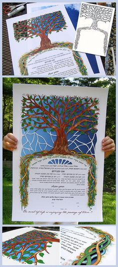 My custom design for Ketubah/Marriage contract, with 2 layers, papercut and lots of little metallic doodles.