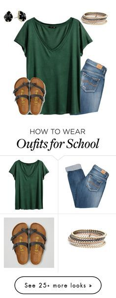 """going to high school soccer game in a bit"" by jazmintorres1 on Polyvore featuring Kendra Scott, Pepe Jeans London, H&M and American Eagle Outfitters"