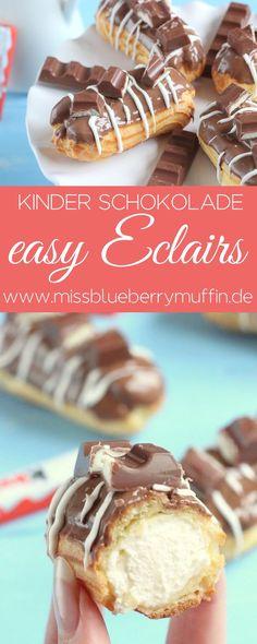 Einfache Eclairs mit kinder Schokolade // easy Eclairs // Brandteig