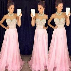 Pink Prom Dresses Chiffon Fashion Long Sparkle Prom Gowns