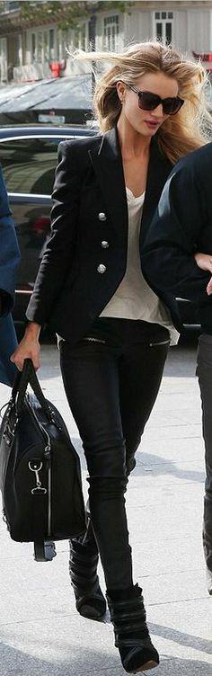 Shirt and shoes – Etoile Isabel Marant  Jacket – Balmain  PAnts – Anine Bing  Purse – Balenciaga