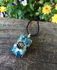 Orgonite Pendant  - Seed of Life - BLUE APATITE, Nuummite, Shungite, Copper, Brass, Iron, Niobium, Orgone, Crystal Pendant, Throat Chakra by 432oneness on Etsy