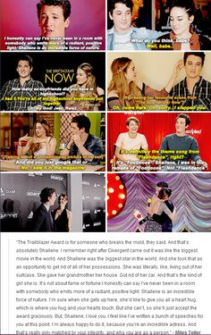 Shailene Woodley and Miles Teller《《《yess they call each other babe