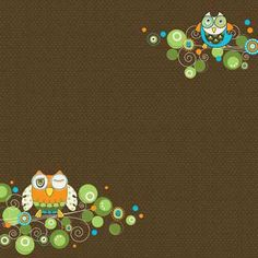 owl scrapbook paper | Carolees Adornit Paper Fern Collection Owl Hoot B