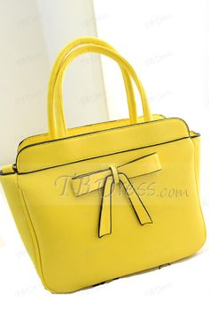 Lovely Bow Knot Solid Color PU Women Handbag