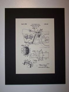 Harley Motorcycle Saddle Structure 1934 Patent Drawing Motorcycle Harley Davidson