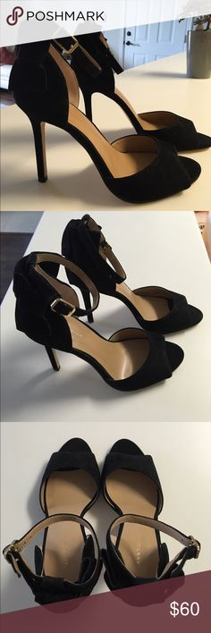 BLACK SUEDE PUMPS Gorgeous, elegant and sexy black suede pumps with a bow on the back. Never worn. Purchased size 7 but they fit more like a 7 1/2. Still in the original box. Must have for the LBD or dress up any pair of jeans. Ann Taylor Shoes Heels