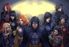 Batfamily- Batwoman (Kate Kane), Blackbat (Cassandra Cain), Batgirl (Stephanie Brown), Batgirl/Oracle (Barbara Gordon), Batman (Bruce Wayne), Dick Grayson (Nightwing), Robin (Damien Wayne), Red Robin (Tim Drake), and Red Hood (Jason Todd)
