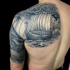 Oh ich mag es Wikinger Oh Wikinger Tattoos Viking Ship Tattoo, Viking Tattoo Sleeve, Norse Tattoo, Viking Tattoo Design, Full Sleeve Tattoos, Celtic Tattoos, Druid Tattoo, Schulterpanzer Tattoo, Body Art Tattoos