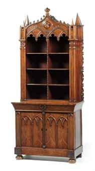 AN ENGLISH GOTHIC REVIVAL ROSEWOOD BOOKCASE