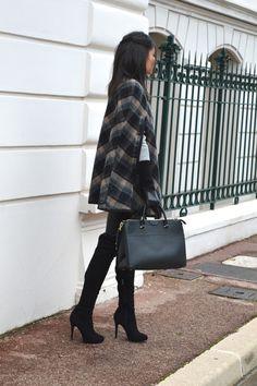 nouveau blog mode cape à carreaux zara tendance hiver 2015 cuissardes en daim talons leggings pantalon en similicuir cuir h&m