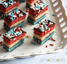 Red, White, and Blue Rainbow Cookies  def making these for the big week this year :)