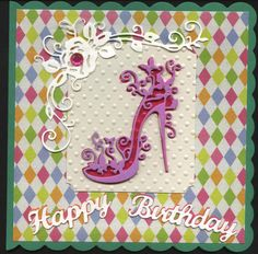 Tattered Lace Shoe Birthday Card Green Pink and Cream