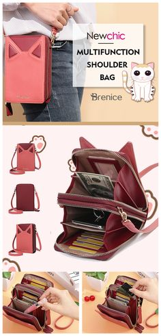 316497a6504578 Brenice Women Cute Cat Ears Card-slots Phone Bag Crossbody Bag is designer,  see other cute bags on NewChic.