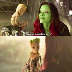 """Baby Groot and Gamora are soooooooooo adorable! He literally views her as a mother figure. In Avengers Infinity War Peter Quill tells Teenage Groot to behave or he will call his """"mother""""! Gamora Marvel, Marvel Fan, Marvel Dc Comics, Marvel Avengers, Avengers Cast, Baby Groot, Gardians Of The Galaxy, Groot Guardians, Marvel Memes"""