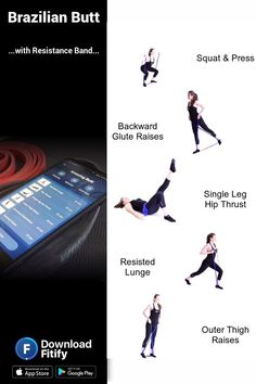 Resistance Band - Butt Workout 🍑 - Health and fitness - Mini Band Exercises, Leg Workout With Bands, Resistance Band Exercises, Resistance Workout, Tabata Workouts, At Home Workouts, Band Workouts, Workout Exercises, Ultimate Ab Workout