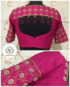 Latest Simple Blouse Back Neck Designs 2019 & 2020 Looking for latest blouse designs 2018 collections? Let's have a look at simple blouse design trends for 2019 & blouse designs images are available. Blouse Back Neck Designs, Pattu Saree Blouse Designs, Simple Blouse Designs, Stylish Blouse Design, Fancy Blouse Designs, Bridal Blouse Designs, Latest Blouse Designs, Latest Blouse Patterns, Choli Designs