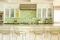backsplash, love the countertop and chairs too, house of turquoise, by design firm Bonesteel Trout Hall House Of Turquoise, New Kitchen, Kitchen Decor, Kitchen Ideas, Kitchen Designs, Modern Classic, Modern Rustic, Cool Kitchens, White Kitchens