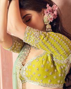 Bright green Anushree Reddy bridal lehenga blouse design with mint lehenga dupat… Indian Fashion Dresses, Indian Designer Outfits, Indian Designers, Bridal Blouse Designs, Saree Blouse Designs, Lehenga Designs, Indian Wedding Outfits, Bridal Outfits, Indian Weddings