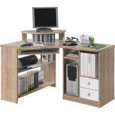 Dieser Schreibtisch von CANTUS ist ideal für Ihr Büro. Mit 5 offenen Fächern und 2 Schubladen garantiert der <b>Eckschreibtisch </b>eine optimale Raumnutzung - Ordner, Bücher und Laufwerk werden direkt am Arbeitsplatz untergebracht. Eine Erhöhung für Ihren Bildschirm sowie ein herausziehbares Fach für Ihre Tastatur ermöglichen Ihnen bequemes Arbeiten. Das Möbel besteht aus einer stabilen Flachpressplatte mit einer Dekorfolie in <b>Weiß </b>und Eichefarben. An diesem Schreibtisch fürs Eck…