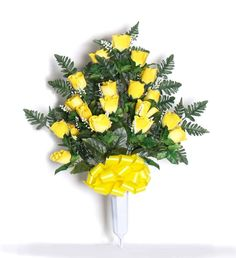 Deluxe Rosebud Vase with Silk Yellow Flowers - 28 inch