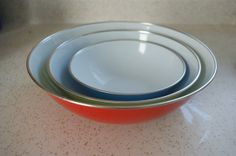 3 Enamel bowls made in Yugoslavia red yellow and blue