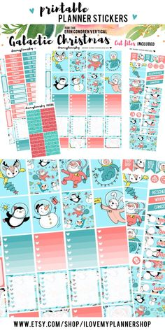 Printable planner stickers for Christmas. Weekly Christmas stickers for use with Erin Condren Vertical Planner.