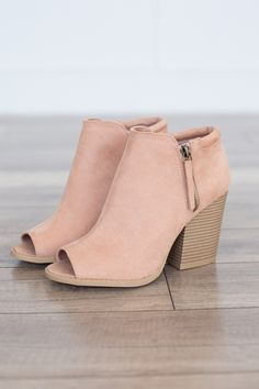 """Faux suede peep toe bootie featuring a side zipper detail and a chunky stacked heel. Man made material. Heel measures 3.5"""""""" tall. Fits true to size. Style #SBARNES-102ABLUSH"""