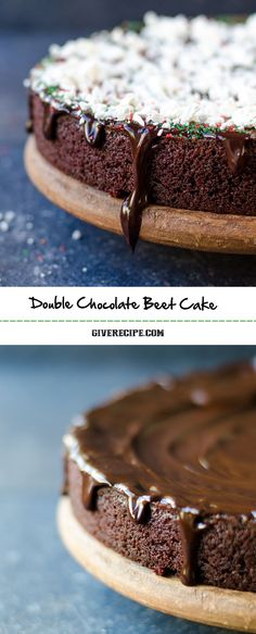 Double Chocolate Beet Cake is dense and moist with a wonderful velvety texture. This is the cake for any occasion like Christmas. | giverecipe.com | #chocolatecake #beet
